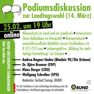Podiumsdisskussion vor der Landtagswahl 2021